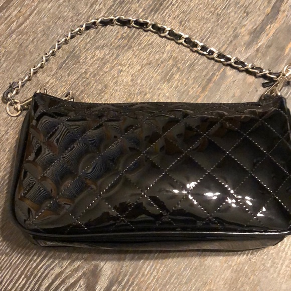 Betsy Johnson quilted faux patten leather bag